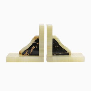 Vintage Green Onyx & Black Marble Bookends, 1930s