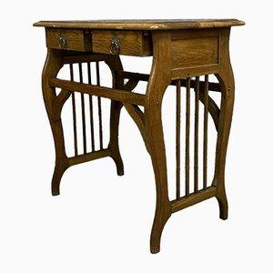 Antique French Art Nouveau Oak Desk, 1900s