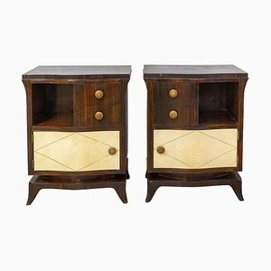 French Parchment Nightstands, 1940s, Set of 2