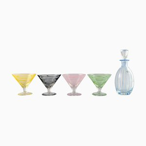 Swedish Cocktail Glasses and Decanter from Åfors, 1960s, Set of 5