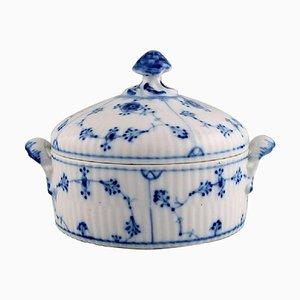 Antike blaue geriffelte Zuckerdose mit Deckel von Royal Copenhagen