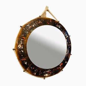 Runder Spiegel mit Keramikkacheln, 1970er