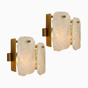 Glass and Brass Light Fixtures by J. T. Kalmar, Austria, 1960s, Set of 2