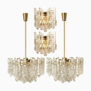 Ice Glass Light Fixtures from Kalmar, 2 Wall Scones and 2 Chandeliers, Set of 4