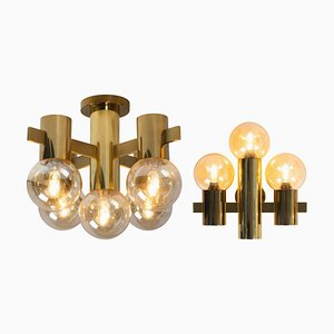 Brass Wall and Ceiling Lights by Hans Agne Jakobsson for Teka, Set of 2