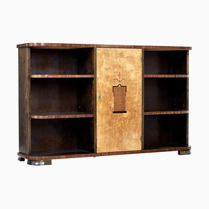 Mid 20th Century Scandinavian Birch Inlaid Open Bookcase