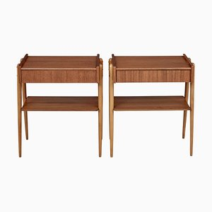 Mid 20th Century Teak Bedside Tables from Carlstrom & Co, Set of 2