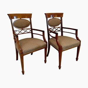19th Century Victorian Mahogany Inlaid Desk Chairs, Set of 2