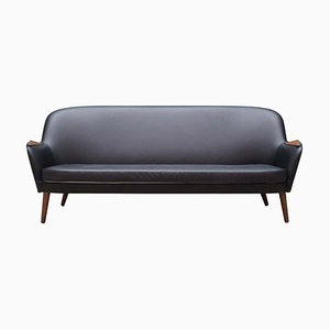 Danish Black Leather Sofa, 1970s