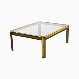 Brutalist Brass & Glass T09 Embassy Coffee Table by Peter Ghyczy, 1970s