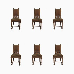 Antique Baroque Style Carved Dining Chairs, Set of 12