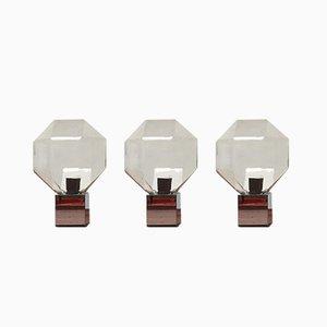 Deutsche Vintage Space Age Lampen aus Chrom & Glas von Motoko Ishii für Staff, 4er Set