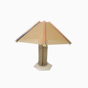 Large Desk Lamp on Travertine Base, 1970s