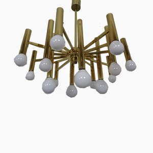 Large Italian Brass Chandelier by Gaetano Sciolari for Sciolari, 1960s