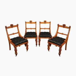 Oak and Leather Desk Chairs, Set of 2