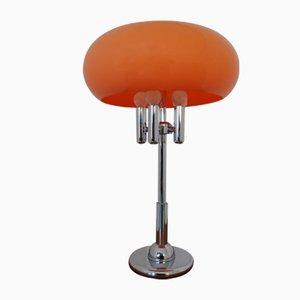 Lampada da tavolo in plastica arancione e placcata in cromo, Italia, anni '60