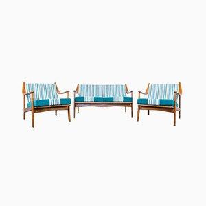 Vintage Scandinavian Style Armchairs & Sofa Set, 1960s, Set of 3