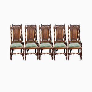Oak Barley Twist Dining Chairs with Cane Backs & Pop Out Seats, 1920s, Set of 8