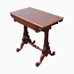 Antique Mahogany Side Table with One Drawer, 1900s