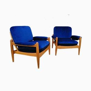 Skandinavische Armlehnstühle, 1960er, 2er Set
