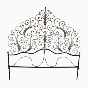 Antique Art Nouveau Gilded Wrought Iron Headboard, 1910s