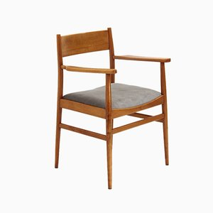 Mid-Century Wood and Velvet Dining Chair