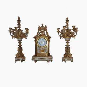 Uhr und Kerzenständer, 3er Set