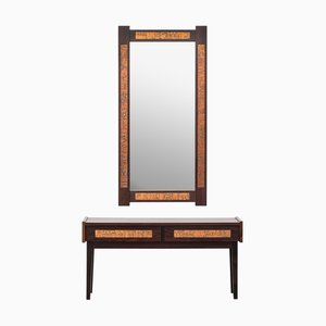 Rosewood Palisander Console and Mirror from J. Hølmer-Hansen, 1970s, Set of 2
