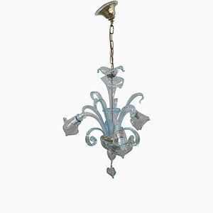Italian Transparent and Light Blue Murano Glass Chandelier, 1950s