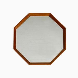 Octagonal Teak Wall Mirror, 1960s