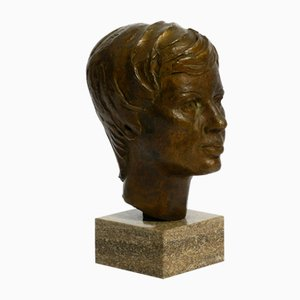 Bronze Bust On Marble Base, HA, 1976
