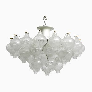 Frosted Glass Ball Tulipan Ceiling Lamp from Kalmar Franken KG, 1960s