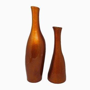 Italienische Ockerfarbene Glasvasen, 1970er, 2er Set