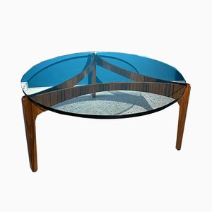 Round Rosewood Coffee Table by Sven Ellekaer for Christian Linneberg, 1960s