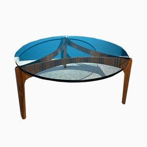 Tavolino da caffè rotondo in palissandro di Sven Ellekaer per Christian Linneberg, anni '60