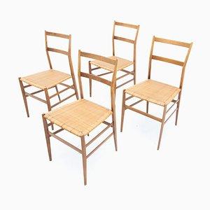 Italian Superleggera Dining Chairs by Gio Ponti, 1950s, Set of 4