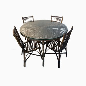 Mid-Century Bamboo Dining Table & Chairs Set, Set of 5
