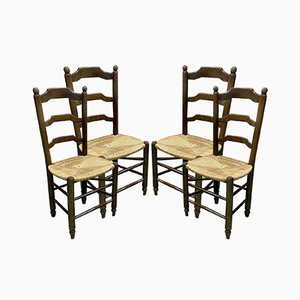 Beech & Straw Dining Chairs, 1950s, Set of 4
