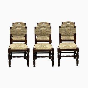 Eichenholz & Stroh Esszimmerstühle, 1950er, 6er Set