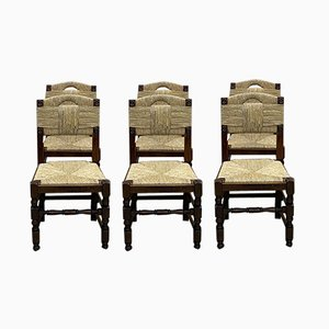 Oak & Straw Dining Chairs, 1950s, Set of 6