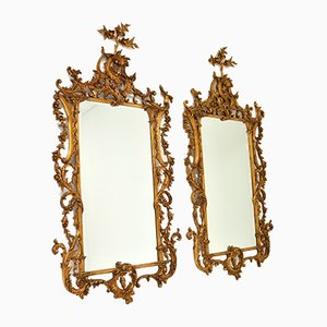 Large Vintage Chippendale Style Gilt Wood Mirrors, Set of 2