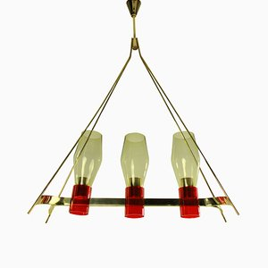 Italian Brass and Glass Ceiling Lamp, 1950s