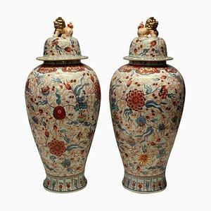 Large Antique Japanese Ceramic Imari Floor Vases, Set of 2