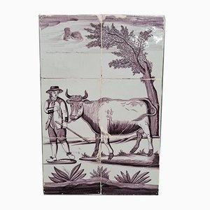 Antique Dutch Tile Tableau of Farmer With Cow, 1700s