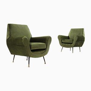 Green Velvet Armchairs, 1950s, Set of 2