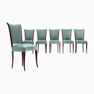 Velvet and Wood Dining Chairs, 1950s, Set of 6