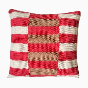 Salmon & Beige Stripes Pillow from Com Raiz