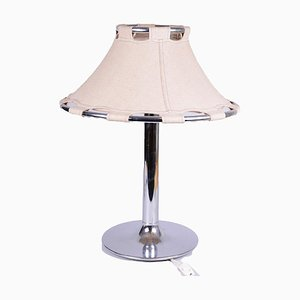 Chrome Table Lamp with Suede Lampshade by Anna Ehrner for Ateljé Lyktan, 1970s