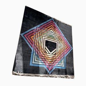 Tappeto quadrato Op Art geometrico nero di Ewald Kröner, anni '70
