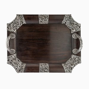 Antique Japanese Solid Silver Serving Tray on Wood